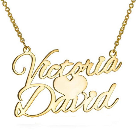2 names love necklace gold heart nameplate jewelry love gifts