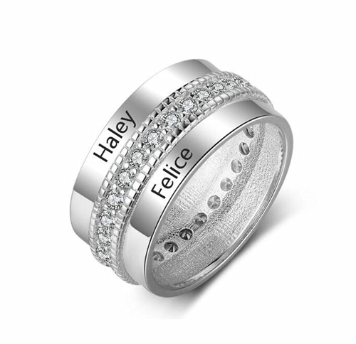 Custom made cubic zirconia couples jewelry two names engraved spinner rings