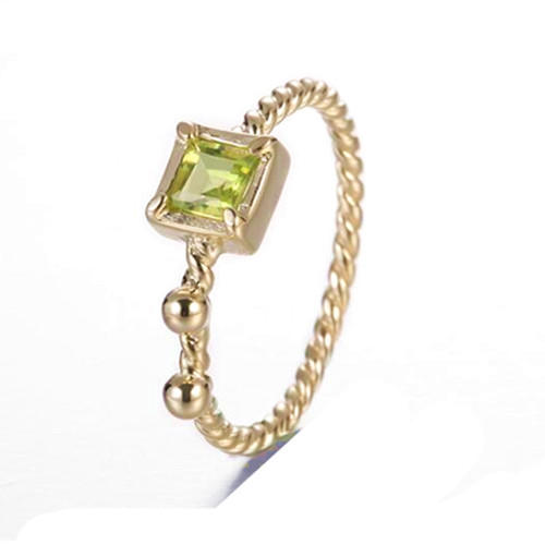 Gold plated delicate olivine gems engagement rings with square stone 925 sterling silver twist band ring for women