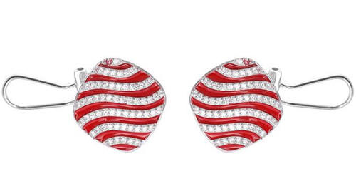 Fashion women jewels personalized red and white stripe zircon studs earrings