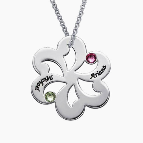 Wholesale personalized jewelry names engraved necklace flower pendant necklace with birthstones family jewellery in sterling silver