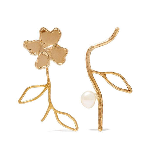 High quality irregular jewelry flower and pearl asymmetric earrings