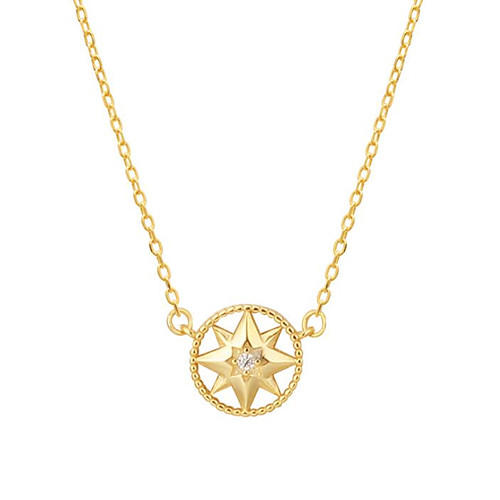 925 silver jewelry OEM star round pendant diamond necklace wholesale