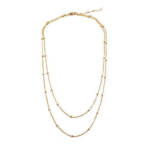Double layered choker necklaces in gold plating women beaded jewelry