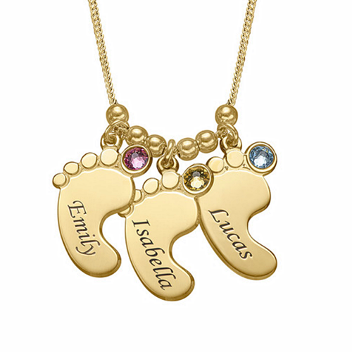 Engraved gold baby foot pendant name necklace with birthstones sterling silver personalised footprint heart necklace for mom