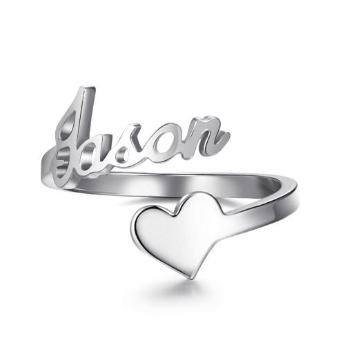 Personalized heart rings with name wholesale engraved custom name rings personal jewelry