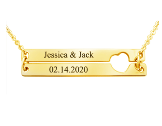 18k gold plated stainless steel jewelry personalized name and date engarving bar necklace