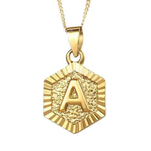 Customized hexagon initial jewelry 18ct gold plated personalised letter necklace