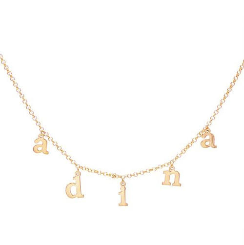 Initial pendants chain necklace in gold plating customized 925 sterling silver name chain necklace with letters personalized jewelry wholesale