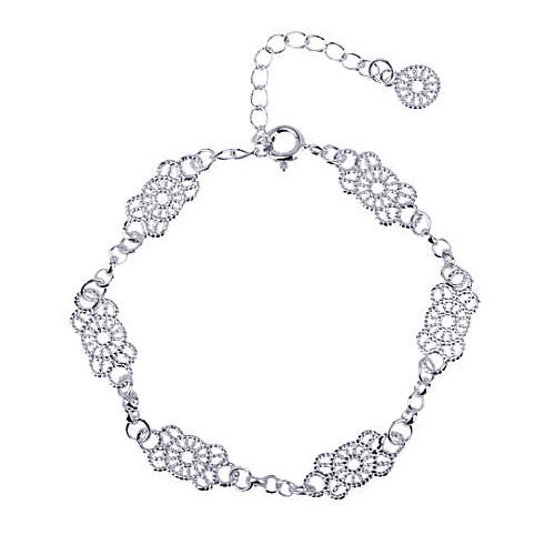 Womens modern burnished lace design wrist bracelet cuff bangle 925 sterling silver ladies craft lace pattern ankle bracelet