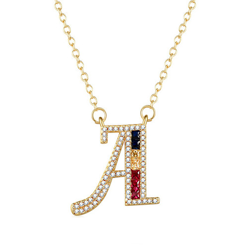 Personalized CZ jewelry colorful cubic zirconia initial pendant necklace