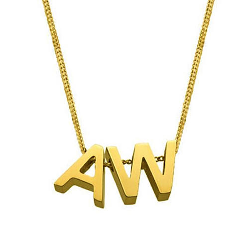 Classic 925 sterling silver personalized lower case A to Z alphabet letter pendant initial necklace in 14K gold plating