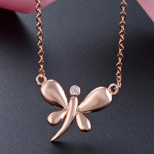 Rose gold color dragonfly pendant necklace sterling silver wholesale jewelry china
