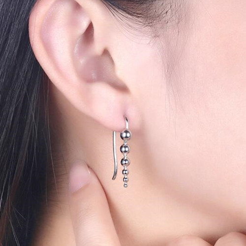 S925 sterling silver long drop beaded earrings for women manufacturer china