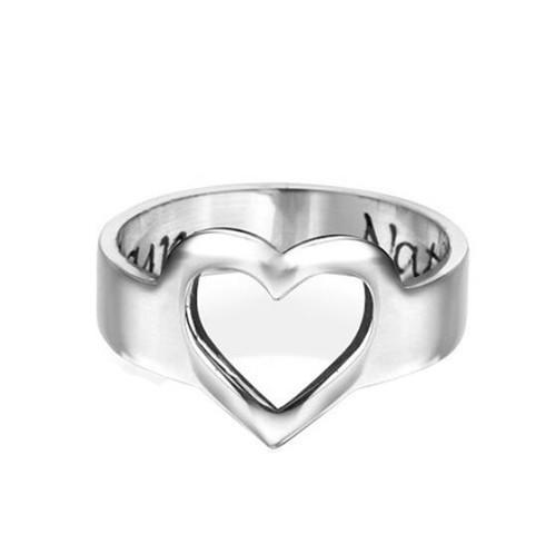 Custom heart jewelry personalized silver name rings wholesale customized hollow out heart ring women jewellery