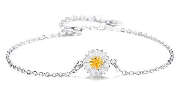 Personalized daisy jewelry 925 sterling silver sunflower charm bracelets bangle
