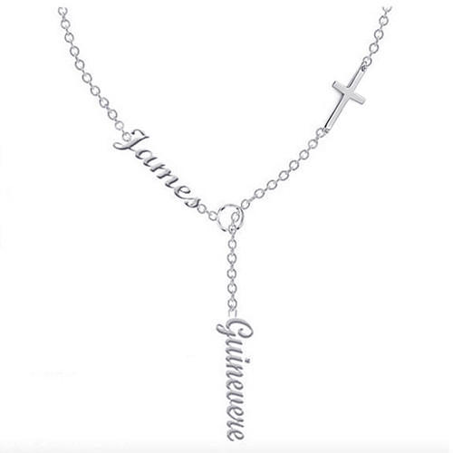 Custom made double name pendant vertical charm necklace with sideways cross personalized any names silver jewelry in rose gold plating