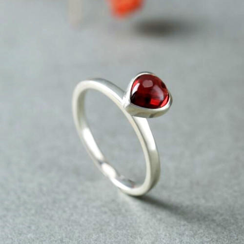 Vintage antique garnet rings for women heart shaped natural gemstone engagement rings in sterling