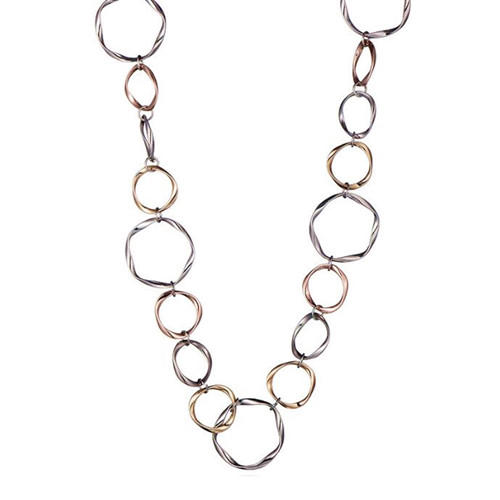 Two tone geometric big circle link chain hollow out necklace women fashion jewellery