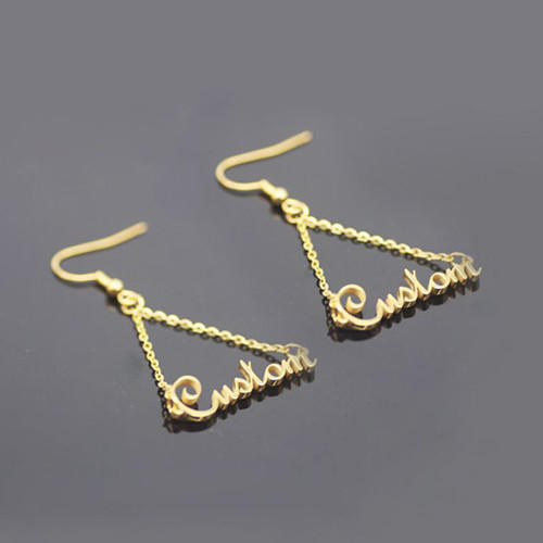 Triangle shape nameplate gold wire earrings gold plated triangle earrings with your name wholesale