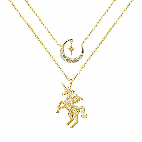 Real gold plated unicorn pendant two layers 5A zircon moon necklace