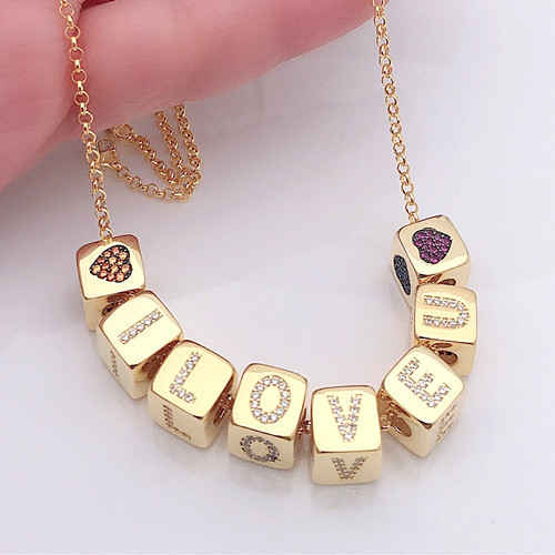 Custom made DIY accessory jewelry personalized letter number symbol engraving mini square necklace