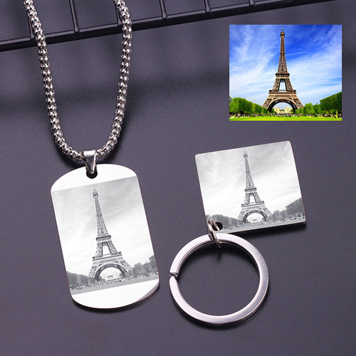 Custom picture image text engraved jewelry S925 sterling silver necklace