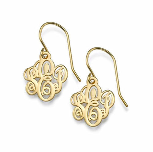 Dangling drop earrings personalized initial monogram earrings gold color wholesale china online
