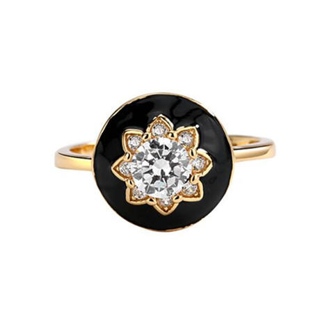 Black epoxy resin glaze flower jewelry gold plated zircon rings wholesale