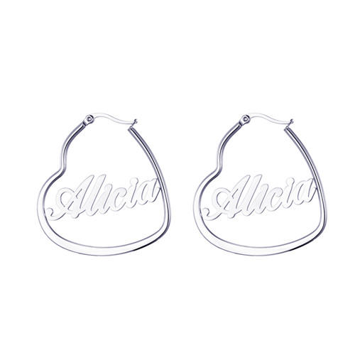 Personalised big circle name plate hoop earrings long dangling drop earrings with names
