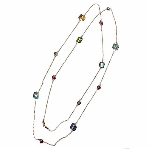 Popular colorful stone fashion jewelry long beaded delicate chain necklace
