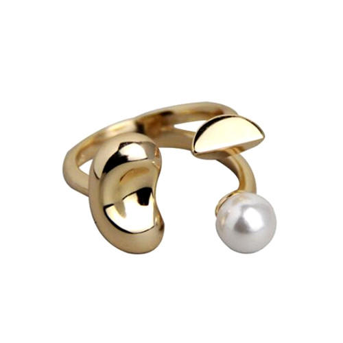 Unique design flower shape jewelry adjustable pearl finger rings in gold plating