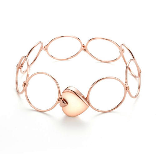 Heart charm rose gold plated convertible bracelet ring s925 sterling silver ring and bracelet convertible jewellery for women