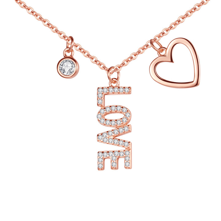 Rose gold plated sterling silver jewellery LOVE pendant diamond necklace with heart charm