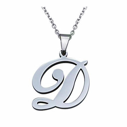 Womens stainless steel initial letter pendant Alphabet initial pendant necklace from A-Z