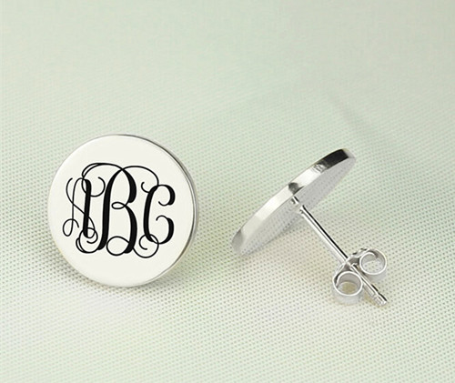 Custom letter monogram initial earrings monogrammed stud earrings personalized jewels in 925 sterling silver