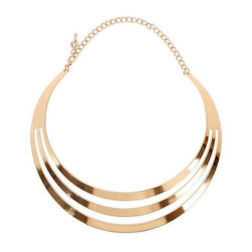 Punk fashion street style jewellery shiny metal luster half circle choker necklace in gold color