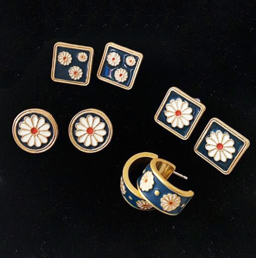 wholesale Enamel jewelry OEM manufacturer gold plated studs earrings supplier fashion brass jewelry vendor