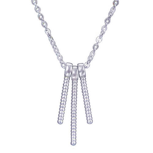 Stylish S925 sterling silver three vertical bar pendant necklace geometrical shape jewellery for women
