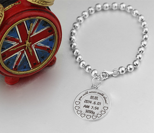 Custom sterling silver mothers baby beaded bracelet adjustable baby photo bangle