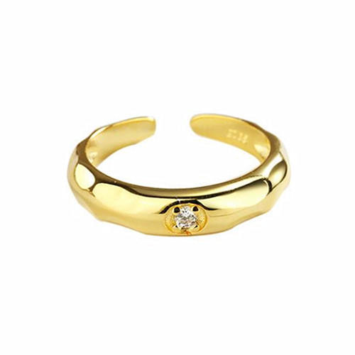 Classic simple design fine jewelry women zircon open rings in gold plating