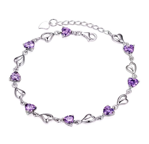 The heart charm chain bracelets with blue quartz bulk in sterling silver amethyst bead jewelry supplies