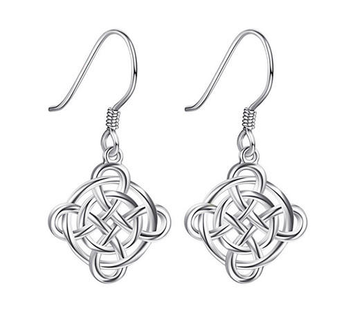 Womens fashion earrings s925 sterling silver celtic knot dangle earrings 3D design celtic drop earrings wholesale