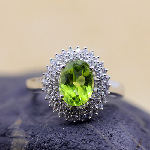 Large olivine stone luxury diamond cluster oval rings antique female real silver big gemstone fine jewelry for women