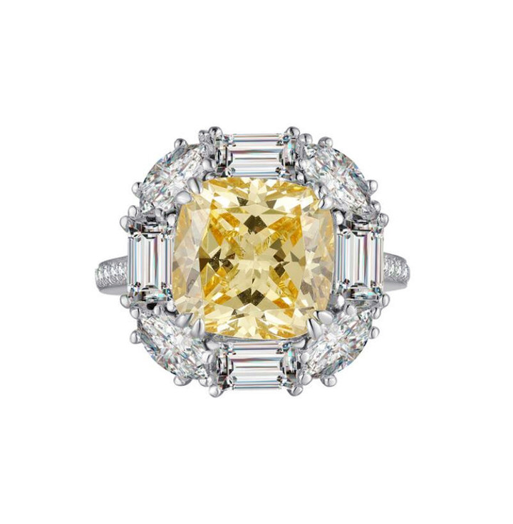 Big yellow quartz stone personalized jewellery 925 sterling silver women diamond finger rings