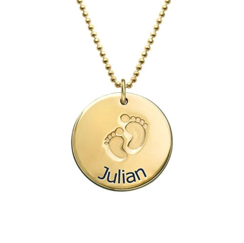 Infant footprint name engraved necklace charm personalized with birthstone sterling silver children's handprint and footprint necklace gold plated