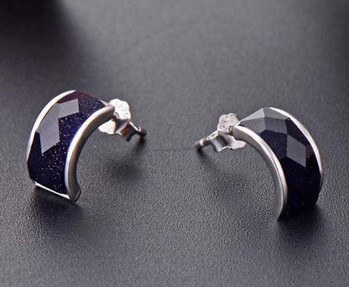Geometry arc earrings studs in sterling silver for women wholesale