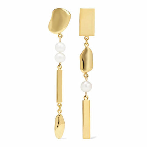 Punk style asymmetric jewelry long drop pearls dangling earrings wholesale