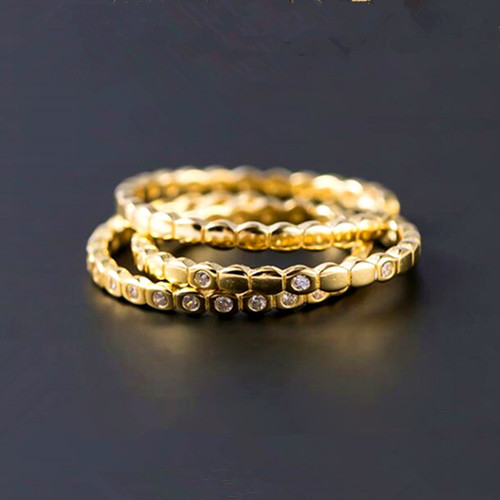 Three in one zircon jewelry multi layered gold plated rings in sterling silver