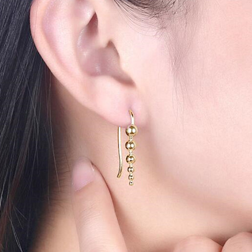 Gold plated hand beaded earrings in sterling silver women fashion jewelry factory china